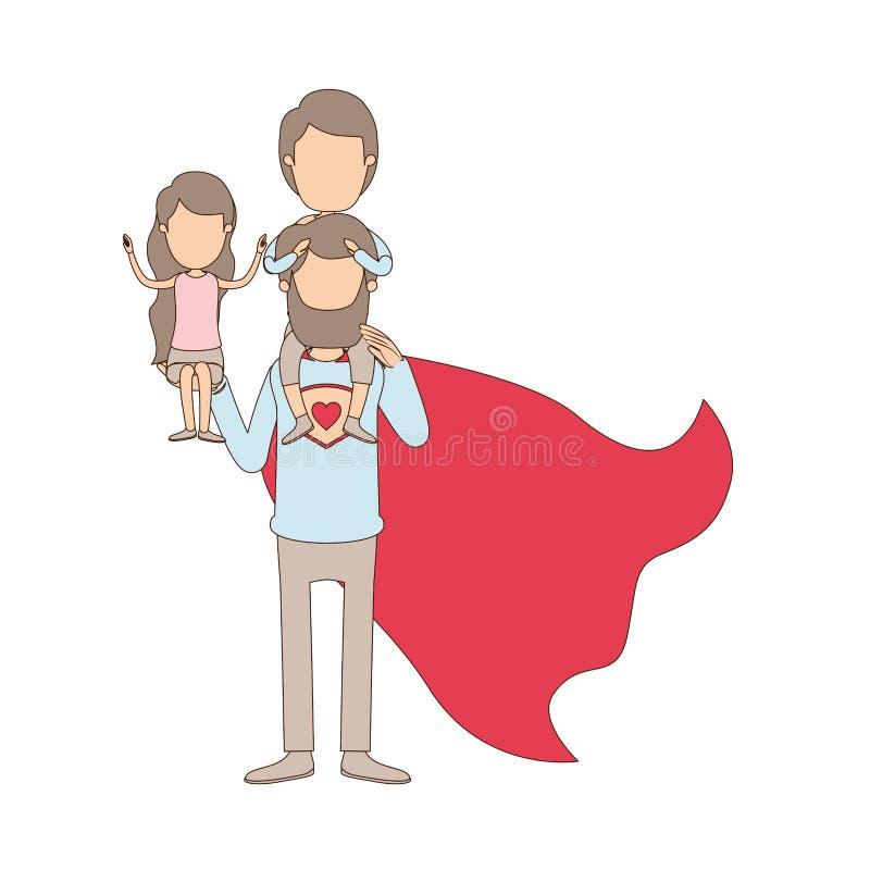 Ελαφρύς χρώματος καρικατουρών απρόσωπος πλήρης ήρωας μπαμπάδων σωμάτων έξοχος με το κορίτσι σε ετοιμότητα του και το αγόρι στην π ελεύθερη απεικόνιση δικαιώματος