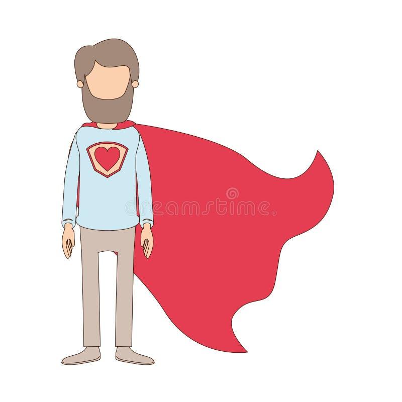 Ελαφρύς χρώματος καρικατουρών απρόσωπος πλήρης σωμάτων ήρωας ατόμων γενειάδων έξοχος με το σύμβολο καρδιών σε ομοιόμορφο ελεύθερη απεικόνιση δικαιώματος