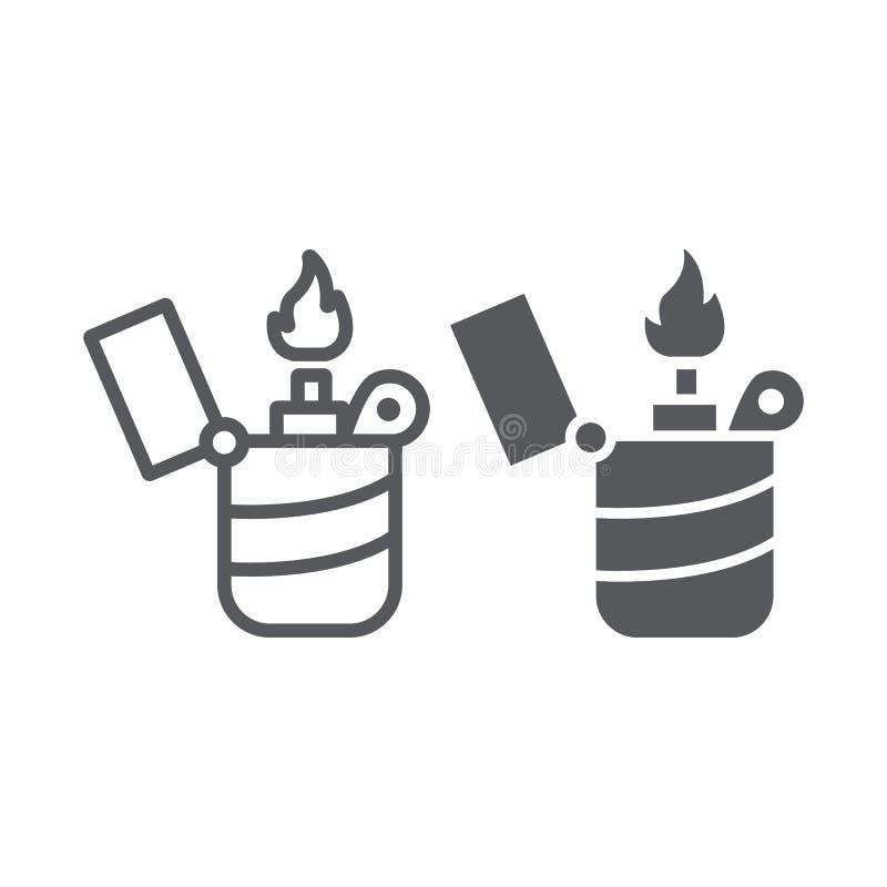 Ελαφρύτερο γραμμή και glyph εικονίδιο, πυρκαγιά και έγκαυμα, σημάδι φλογών, διανυσματική γραφική παράσταση, ένα γραμμικό σχέδιο σ ελεύθερη απεικόνιση δικαιώματος