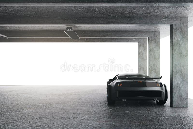 Ελαφρύ γκαράζ με το αυτοκίνητο ελεύθερη απεικόνιση δικαιώματος