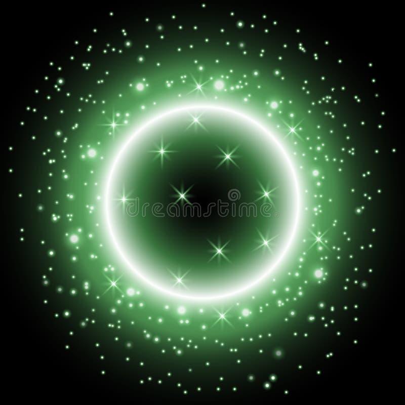 Ελαφρύ δαχτυλίδι με τη αίσθηση μαγείας, πράσινο χρώμα απεικόνιση αποθεμάτων
