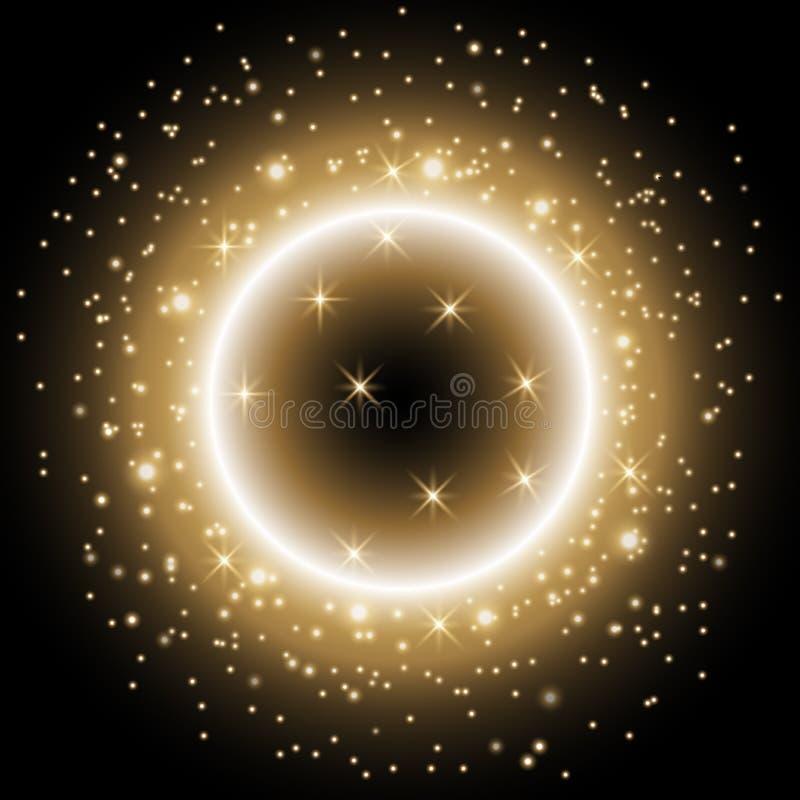 Ελαφρύ δαχτυλίδι με τη αίσθηση μαγείας, χρυσό χρώμα ελεύθερη απεικόνιση δικαιώματος