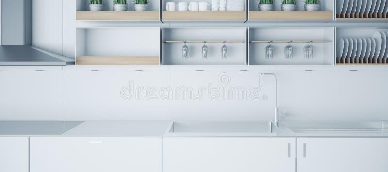 Ελαφρύ εσωτερικό κουζινών Minimalistic ελεύθερη απεικόνιση δικαιώματος