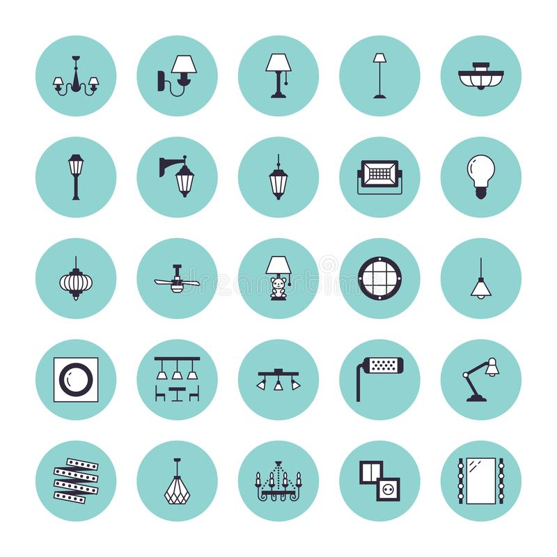 Ελαφρύ προσάρτημα, επίπεδα εικονίδια γραμμών λαμπτήρων Σπίτι και υπαίθριος εξοπλισμός φωτισμού - πολυέλαιος, sconce τοίχων, βολβό ελεύθερη απεικόνιση δικαιώματος