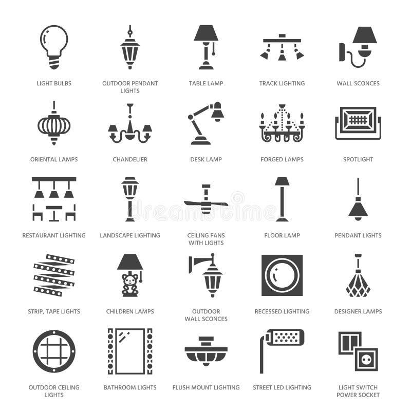 Ελαφρύ προσάρτημα, επίπεδα εικονίδια glyph λαμπτήρων Σπίτι και υπαίθριος εξοπλισμός φωτισμού - πολυέλαιος, sconce τοίχων, βολβός, ελεύθερη απεικόνιση δικαιώματος
