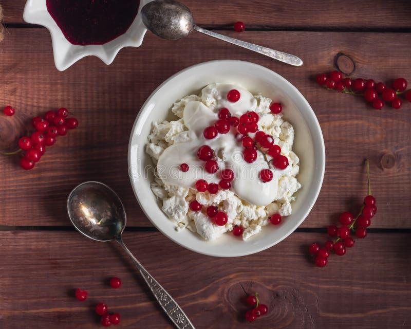 Ελαφρύ πρόγευμα του τυριού εξοχικών σπιτιών με τα μούρα ξινής κρέμας και κόκκινων σταφίδων στοκ εικόνες