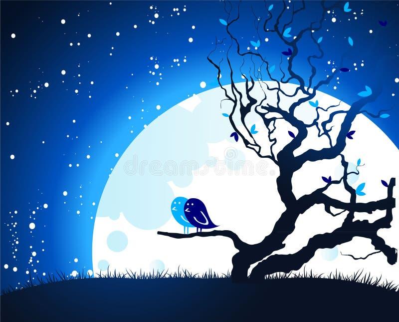 ελαφρύ φεγγάρι πουλιών διανυσματική απεικόνιση