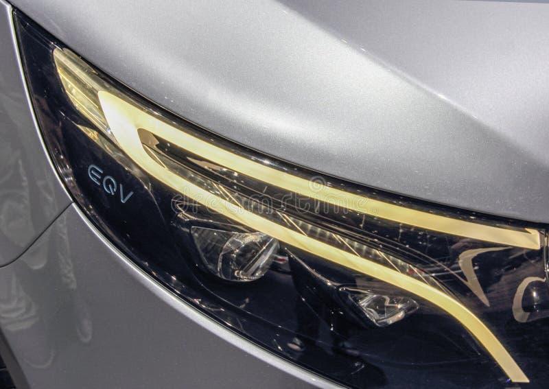 Ελβετία  Γενεύη  Στις 11 Μαρτίου 2019  Έννοια EQV της Mercedes-Benz  Η 89η διεθνής έκθεση αυτοκινήτου στη Γενεύη από 7ο σε 17ο στοκ εικόνα με δικαίωμα ελεύθερης χρήσης