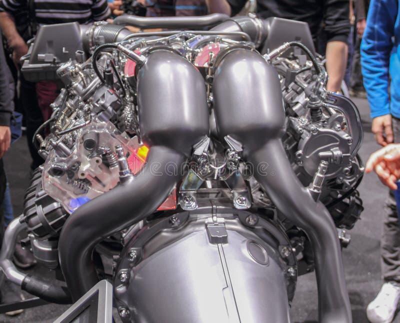 Ελβετία  Γενεύη  Στις 9 Μαρτίου 2019  Ουσία 4,0 Λ δις-τούρμπο κυλίνδρων της Mercedes-Benz V8  Η 89η διεθνής έκθεση αυτοκινήτου στ στοκ εικόνα με δικαίωμα ελεύθερης χρήσης