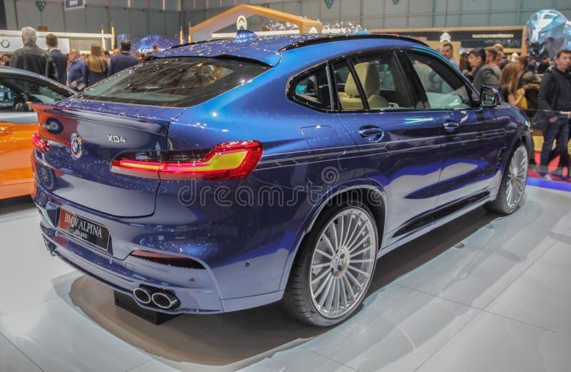 Ελβετία  Γενεύη  Στις 9 Μαρτίου 2019  BMW Alpina XD4 ΜΕ ΚΙΝΗΤΉΡΙΟΥΣ ΤΡΟΧΟΎΣ  Η 89η διεθνής έκθεση αυτοκινήτου στη Γενεύη από 7ο σ στοκ φωτογραφία με δικαίωμα ελεύθερης χρήσης