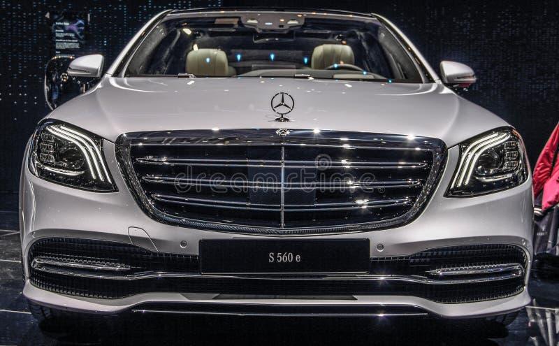 Ελβετία  Γενεύη  Στις 11 Μαρτίου 2019  Mercedes-Benz S 560 ε  Η 89η διεθνής έκθεση αυτοκινήτου στη Γενεύη από 7ο σε 17ο του Μαρτί στοκ εικόνες