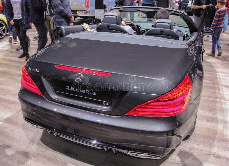 Ελβετία  Γενεύη  Στις 9 Μαρτίου 2019  Mercedes-Benz SL 500 μεγάλη οπίσθια πλευρά εκδόσεων  Η 89η διεθνής έκθεση αυτοκινήτου στη Γ στοκ εικόνες με δικαίωμα ελεύθερης χρήσης