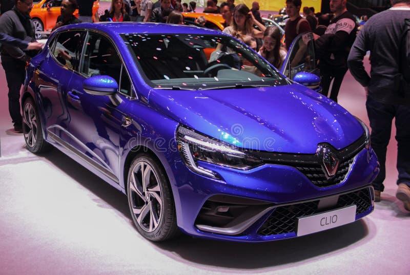 Ελβετία  Γενεύη  Στις 9 Μαρτίου 2019  Renault Clio  Η 89η διεθνής έκθεση αυτοκινήτου στη Γενεύη από 7ο σε 17ο του Μαρτίου του 201 στοκ φωτογραφία με δικαίωμα ελεύθερης χρήσης