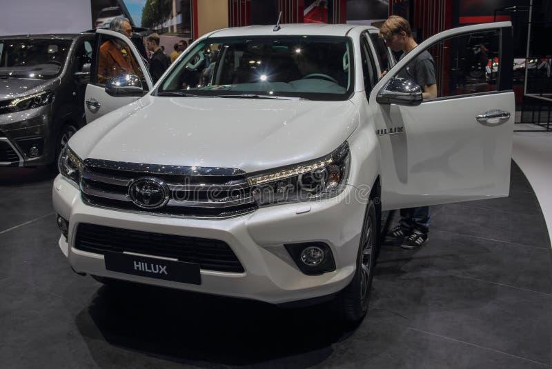 Ελβετία  Γενεύη  Στις 9 Μαρτίου 2019  Toyota Hilux  Η 89η διεθνής έκθεση αυτοκινήτου στη Γενεύη από 7ο σε 17ο του Μαρτίου του 201 στοκ εικόνα με δικαίωμα ελεύθερης χρήσης