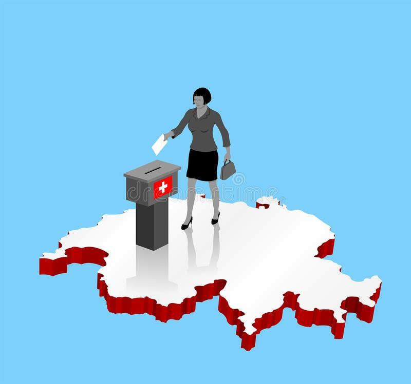 Ελβετικός πολίτης που ψηφίζει για το δημοψήφισμα της Ελβετίας πέρα από έναν τρισδιάστατο χάρτη διανυσματική απεικόνιση