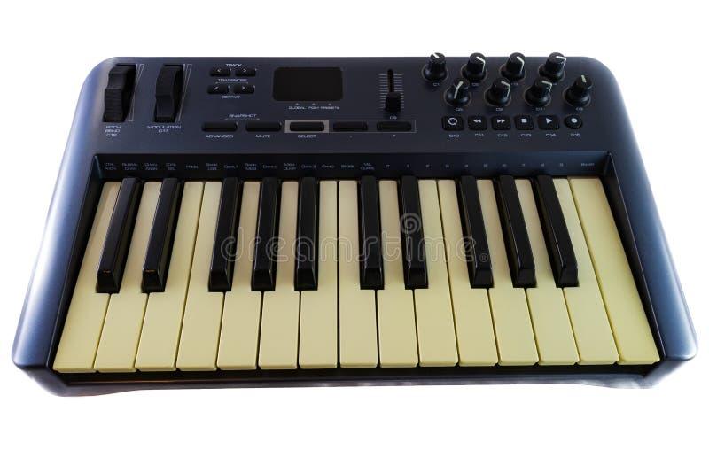 Ελεγκτής πληκτρολογίου USB MIDI Synthesizer σε λευκό φόντο στοκ εικόνες με δικαίωμα ελεύθερης χρήσης