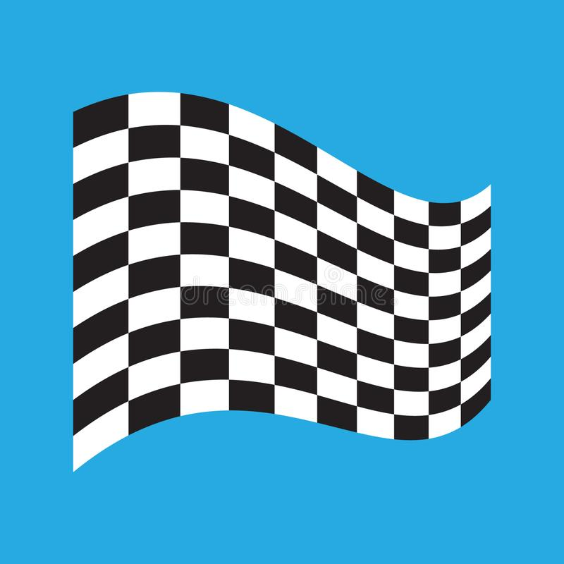 Ελεγμένη σημαία αγώνα που απομονώνεται στο μπλε απεικόνιση αποθεμάτων