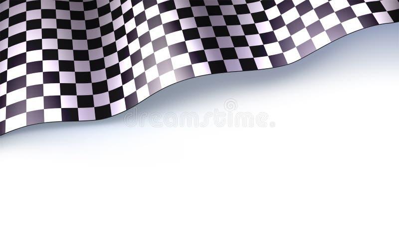 Ελεγμένη σημαία για τη φυλή ή motorsport τη συνάθροιση αυτοκινήτων που απομονώνεται στο άσπρο bacground Τρισδιάστατη διανυσματική απεικόνιση αποθεμάτων