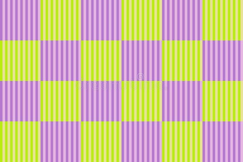 Ελεγμένο σχέδιο με τις κάθετες ριγωτές γραμμές, τα ανοικτό πράσινο και πορφυρά ιώδη χρώματα Διανυσματική απεικόνιση, EPS10 απεικόνιση αποθεμάτων