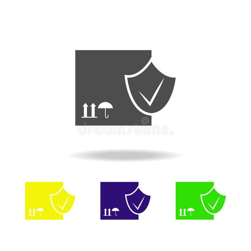 ελεγχμένα πολύχρωμα εικονίδια κιβωτίων μεταφορών Εικονίδιο συλλογής σημαδιών και συμβόλων για τους ιστοχώρους, σχέδιο Ιστού, κινη διανυσματική απεικόνιση