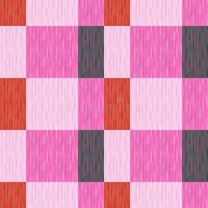 Ελεγχμένος, ταρτάν, καρό ή ριγωτό άνευ ραφής σχέδιο στα ρόδινα, πορτοκαλιά και σκούρο γκρι χρώματα επίσης corel σύρετε το διάνυσμ διανυσματική απεικόνιση