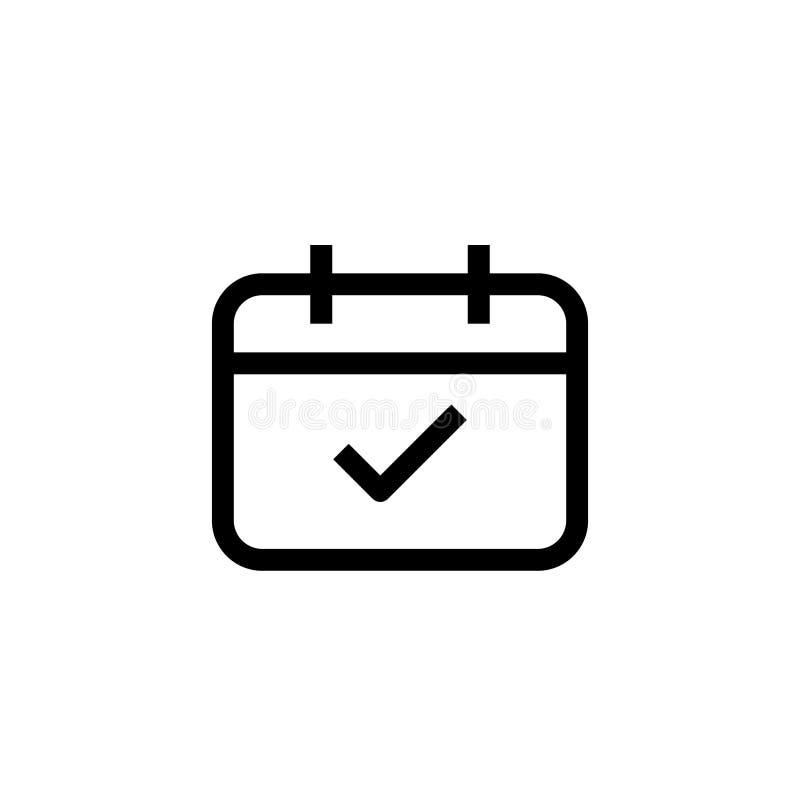 Ελεγχμένο ημερήσιων διατάξεων προγράμματος εικονιδίων ημερολογιακό σύμβολο γεγονότος σχεδίου σαφές απλή καθαρή γραμμών έννοια διο διανυσματική απεικόνιση