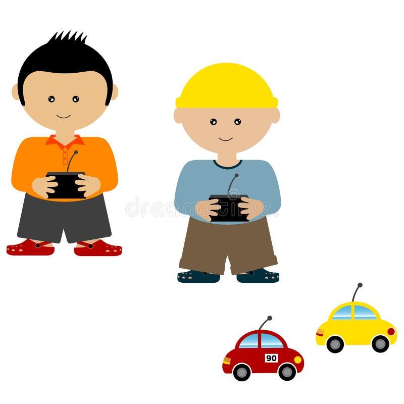 ελεγχόμενο ραδιόφωνο παιχνιδιού αγοριών αυτοκίνητα απεικόνιση αποθεμάτων