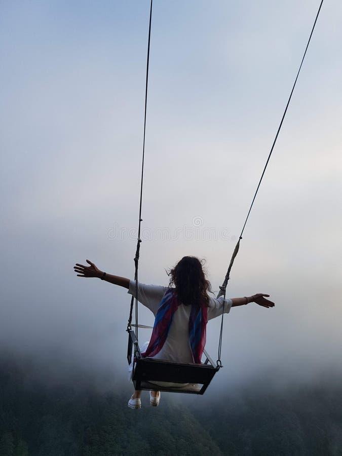 Ελευθερία και ξένοιαστος ενός νέου θηλυκού σε μια ταλάντευση στοκ εικόνα με δικαίωμα ελεύθερης χρήσης