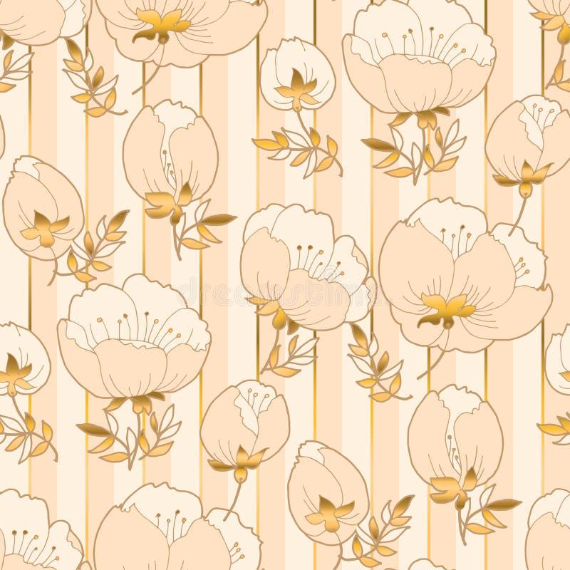 Ελεφαντόδοντο και μπεζ floral άνευ ραφής σχέδιο πολυτέλειας διανυσματική απεικόνιση
