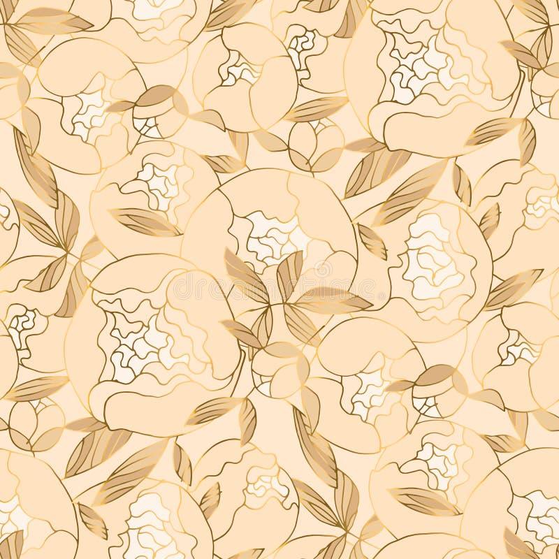 Ελεφαντόδοντο και μπεζ floral άνευ ραφής σχέδιο πολυτέλειας ελεύθερη απεικόνιση δικαιώματος
