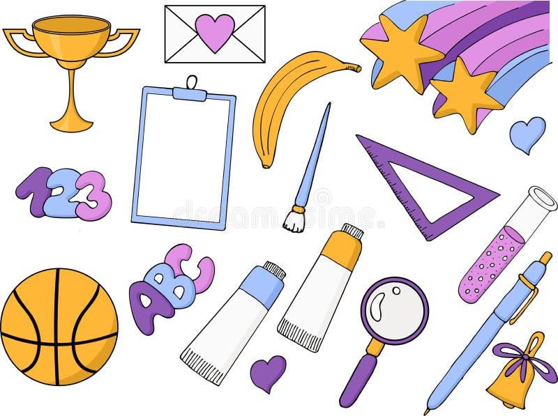 Ελεύθερα σχολικά στοιχεία σχεδίων επίσης corel σύρετε το διάνυσμα απεικόνισης Σύνολο απεικόνιση αποθεμάτων
