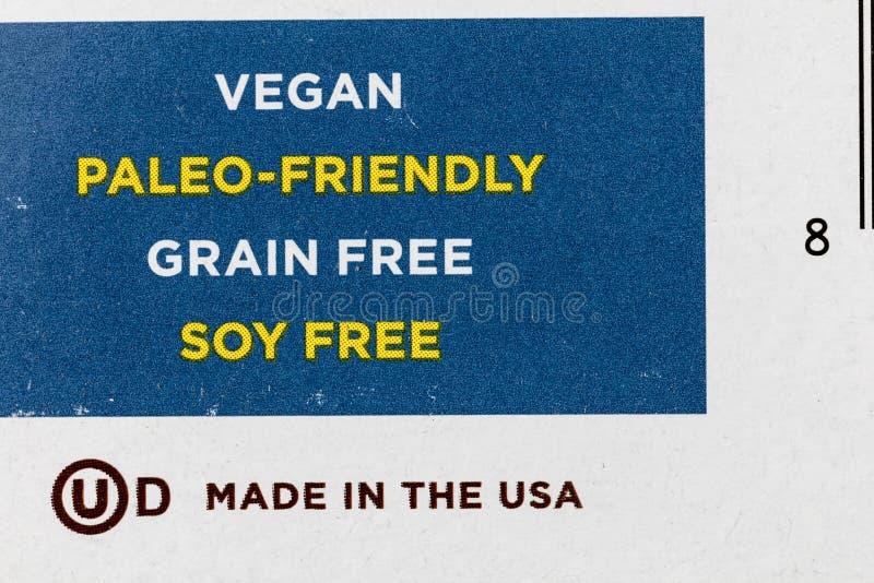 Ελεύθερα τρόφιμα σόγιας σιταριού paleo ετικετών vegan απεικόνιση αποθεμάτων