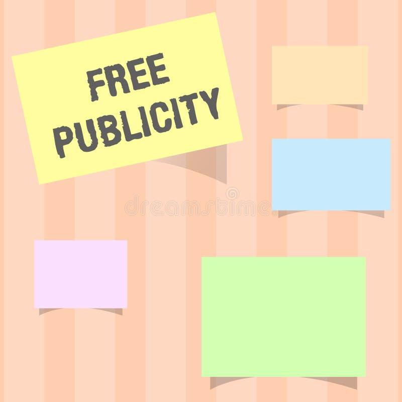 Ελεύθερη δημοσιότητα κειμένων γραφής Έννοια που σημαίνει το προωθητικό κύριο άρθρο δημόσιων σχέσεων Μέσων Μαζικής Επικοινωνίας μά στοκ εικόνα με δικαίωμα ελεύθερης χρήσης