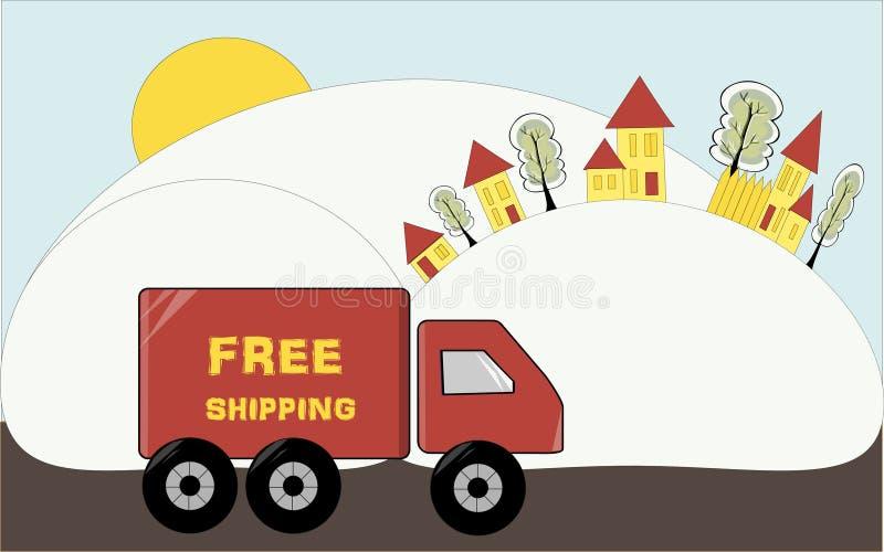 ελεύθερη ναυτιλία Το φορτηγό παραδίδει τα αγαθά Ζωηρόχρωμα κινούμενα σχέδια pi απεικόνιση αποθεμάτων