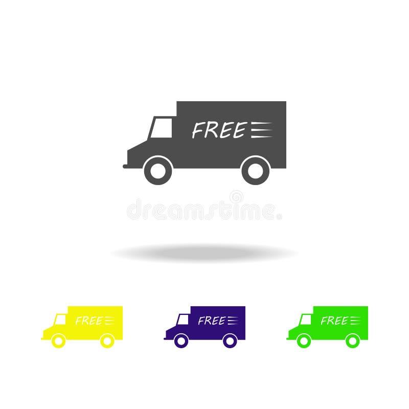 ελεύθερη παράδοση από τα πολύχρωμα εικονίδια φορτηγών Εικονίδιο συλλογής σημαδιών και συμβόλων για τους ιστοχώρους, σχέδιο Ιστού, απεικόνιση αποθεμάτων