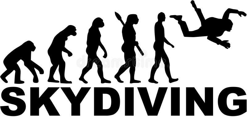 Ελεύθερη πτώση με αλεξίπτωτο εξέλιξης διανυσματική απεικόνιση