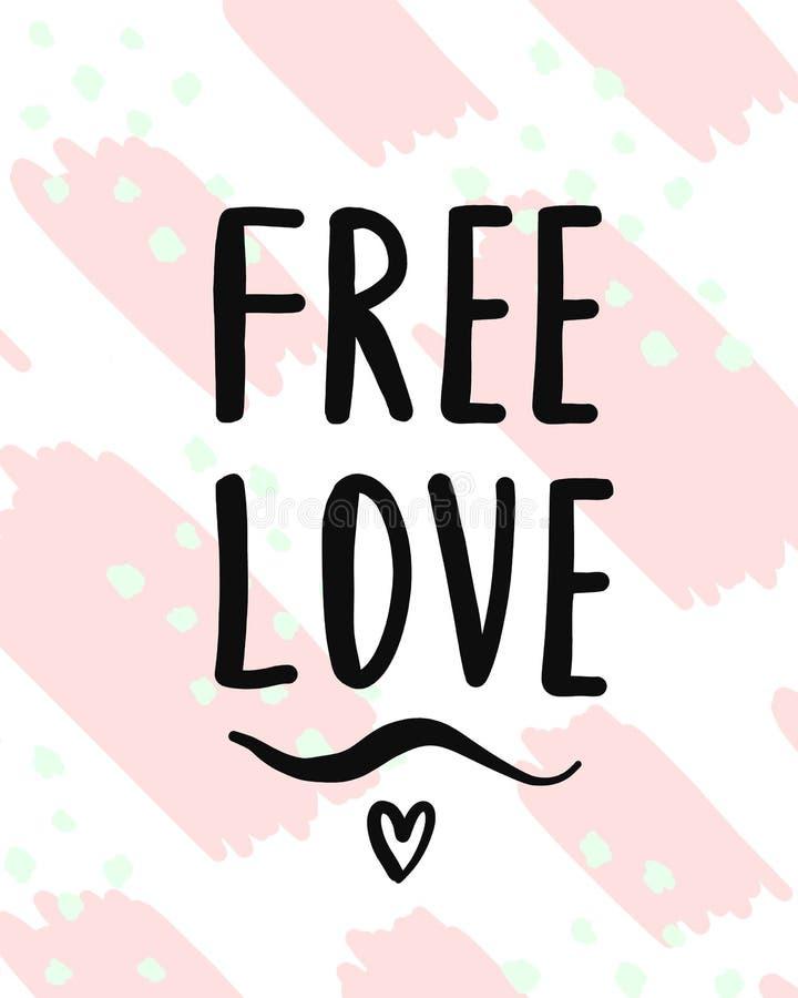 Ελεύθερη συρμένη χαριτωμένη τρυφερή χέρι γράφοντας αφίσα αγάπης με την καρδιά απεικόνιση αποθεμάτων