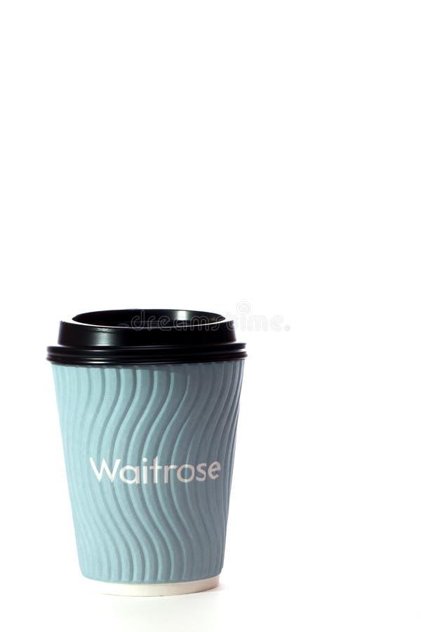 Ελεύθερος καφές Waitrose Μίας χρήσης καυτό φλυτζάνι ποτών περιβαλλοντικά στοκ φωτογραφία με δικαίωμα ελεύθερης χρήσης