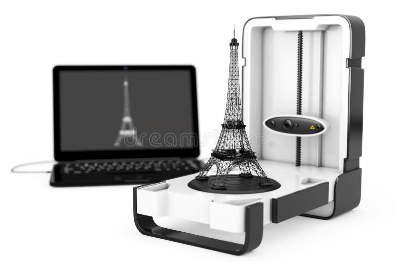 Ελεύθερος μόνιμος σύγχρονος εγχώριος τρισδιάστατος ανιχνευτής υπολογιστών γραφείου που συνδέεται με το lap-top διανυσματική απεικόνιση