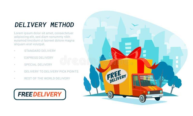 Ελεύθερο πρότυπο παράδοσης Φορτηγό παράδοσης με το κιβώτιο δώρων, δέμα Υπηρεσία παράδοσης που στέλνει με το αυτοκίνητο ή το φορτη ελεύθερη απεικόνιση δικαιώματος