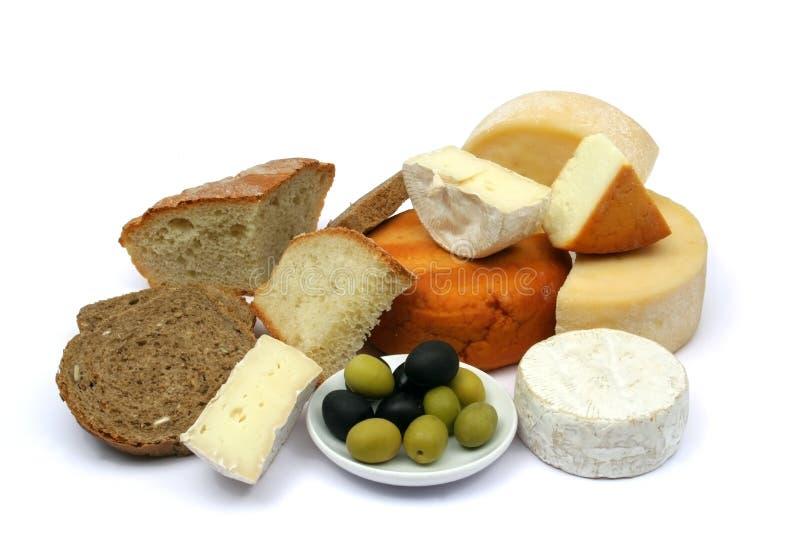ελιές τυριών ψωμιού στοκ φωτογραφίες με δικαίωμα ελεύθερης χρήσης