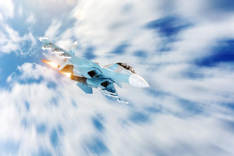 Ελιγμός πολεμικό τζετ με afterburner στον ουρανό Σύγκρουση, πόλεμος Αεροδιαστημικές δυνάμεις στοκ εικόνες
