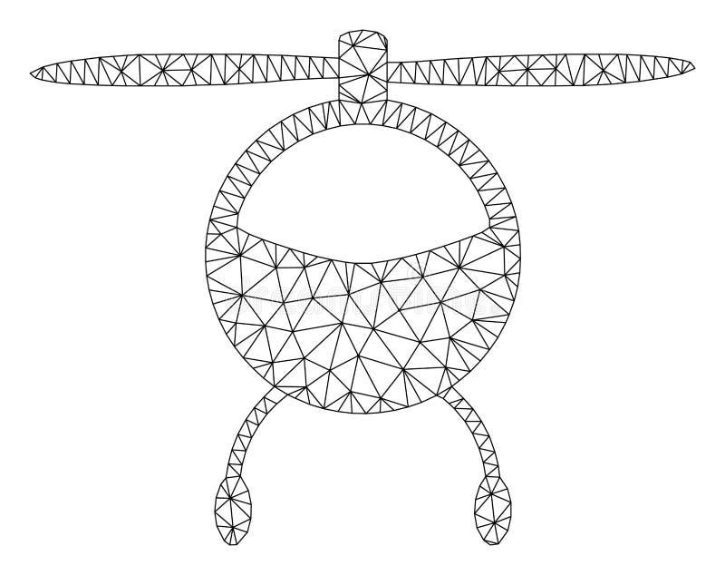 Ελικοπτέρων μπαλτάδων Polygonal απεικόνιση πλέγματος πλαισίων διανυσματική ελεύθερη απεικόνιση δικαιώματος