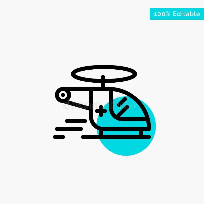 Ελικόπτερο, μπαλτάς, ιατρικός, ασθενοφόρο, διανυσματικό εικονίδιο σημείου κυριώτερων κύκλων αέρα τυρκουάζ απεικόνιση αποθεμάτων