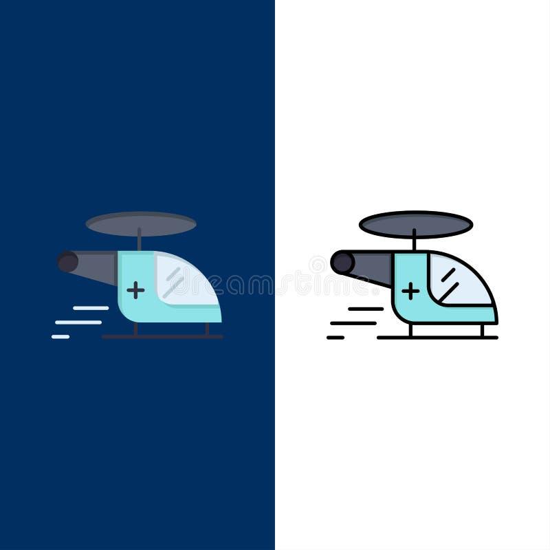 Ελικόπτερο, μπαλτάς, ιατρικός, ασθενοφόρο, εικονίδια αέρα Επίπεδος και γραμμή γέμισε το καθορισμένο διανυσματικό μπλε υπόβαθρο ει διανυσματική απεικόνιση