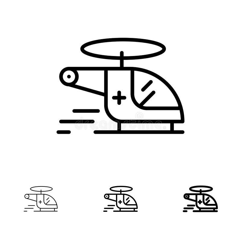 Ελικόπτερο, μπαλτάς, ιατρικός, ασθενοφόρο, τολμηρό και λεπτό μαύρο σύνολο εικονιδίων γραμμών αέρα διανυσματική απεικόνιση