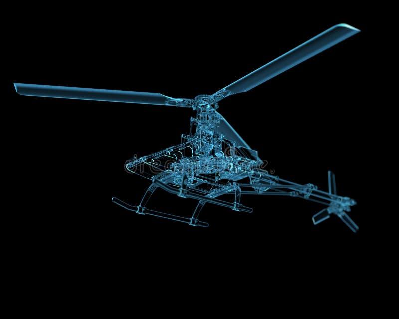 Ελικόπτερο που απομονώνεται στο Μαύρο διανυσματική απεικόνιση