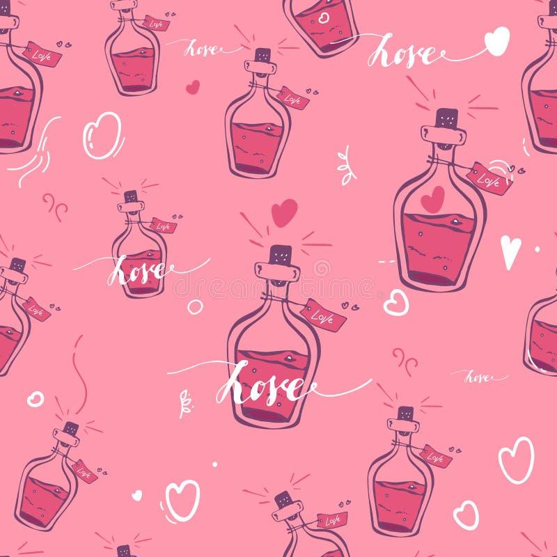 Ελιξίριο της αγάπης πρότυπο καρδιών άνευ ραφής η τυπωμένη ύλη, ιστοχώρος, σχέδιο, κλωστοϋφαντουργικά προϊόντα, κεραμική, υφάσματα ελεύθερη απεικόνιση δικαιώματος
