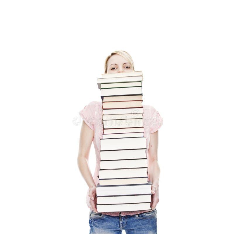 ελκυστικά ξανθά βιβλία π&omicro στοκ φωτογραφίες