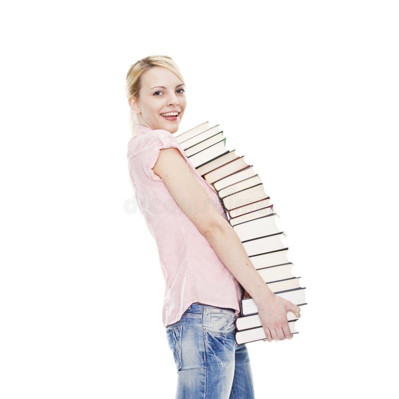 ελκυστικά ξανθά βιβλία π&omicro στοκ εικόνες με δικαίωμα ελεύθερης χρήσης